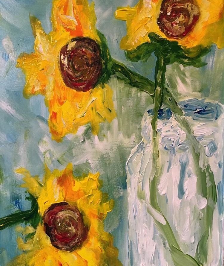 Sunflowers in Jar, $150, SOLD