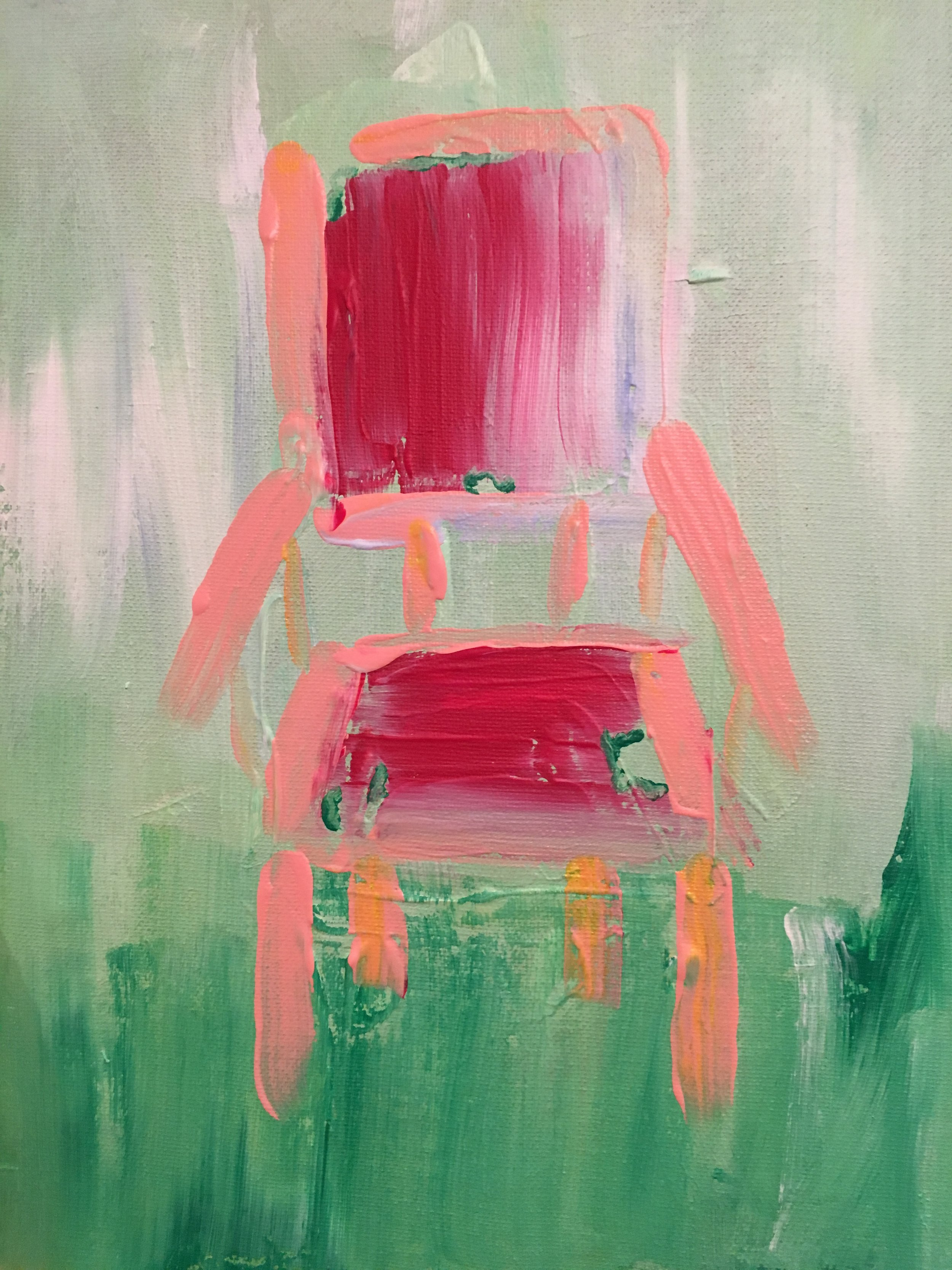 """Pink Chair, 11"""" x14"""", $130"""