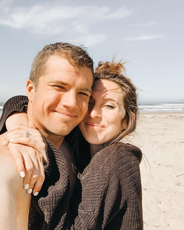 future mom + dad! crazy to think 6 months from now we can bring a lil bean with us to meet the ocean. cody splashed in the waves with the pups and rolled around in the sand- he's going to be the best dad. days like this.