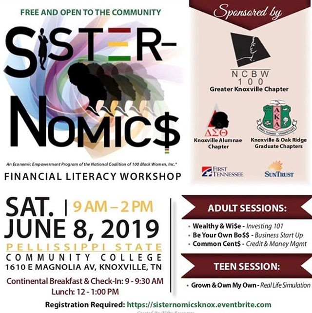 📌 COME | On Saturday, June 8 we are partnering with Suntrust, First Tennessee Bank, and our local Alumnae chapters of Delta Sigma Theta Sorority, Inc. and Alpha Kappa Alpha Sorority, Inc. to help you learn to build wealth. . . . We love seeing the Eventbrite registrations come through; keep it coming! Can't wait to see you there. Financial wellness and education is so important for our communities and we encourage to join us - something new, bring a friend, and watch your finances evolve. 💕 . . #ncbwknow #nc100bwinc #knoxville #wealth #wealthbuilding #financial #seminar #money #cash #wisdom #decisions #advocate #learn #preparation #knoxrocks #865life #spreadtheword