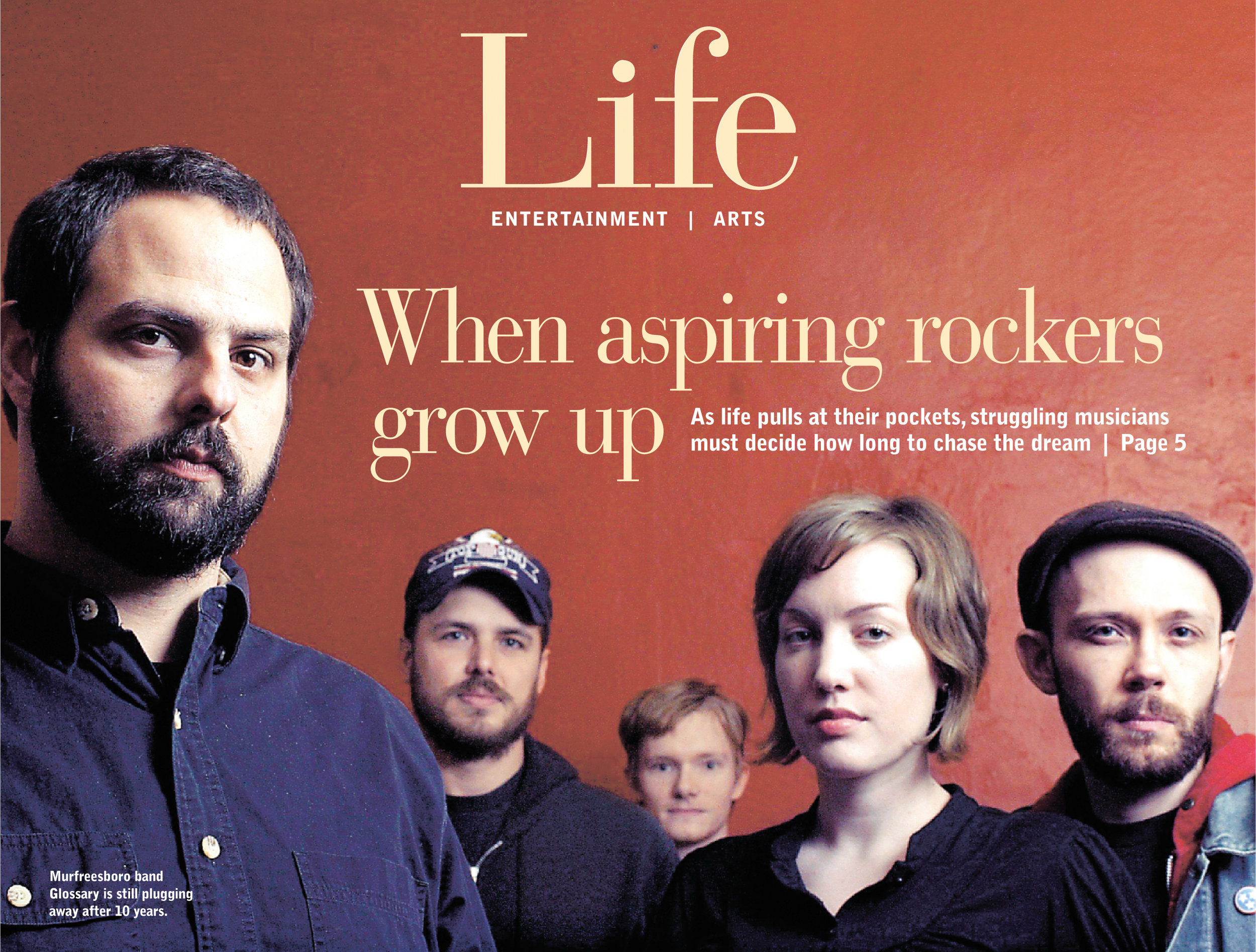 """""""Rock 'n' roll vs. real life"""" - THE TENNESSEAN, 2006This is one of my favorite Tennessean pieces, in part about a criminally underappreciated Nashville band named Glossary, but more broadly, about the struggle of fighting for a music career as grown-up concerns keep pulling at your pockets. Read more here."""
