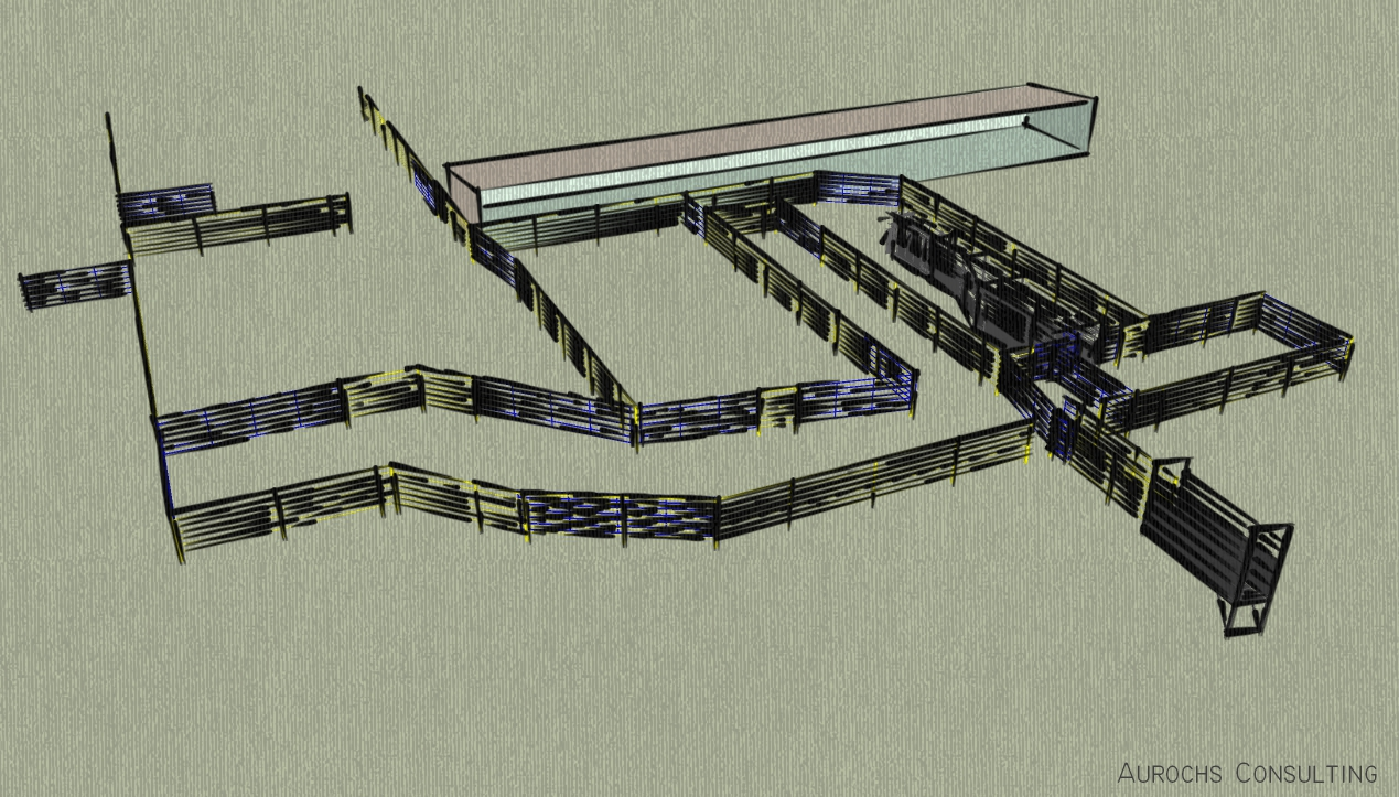 Stylized view of of corrals built in SketchUp.