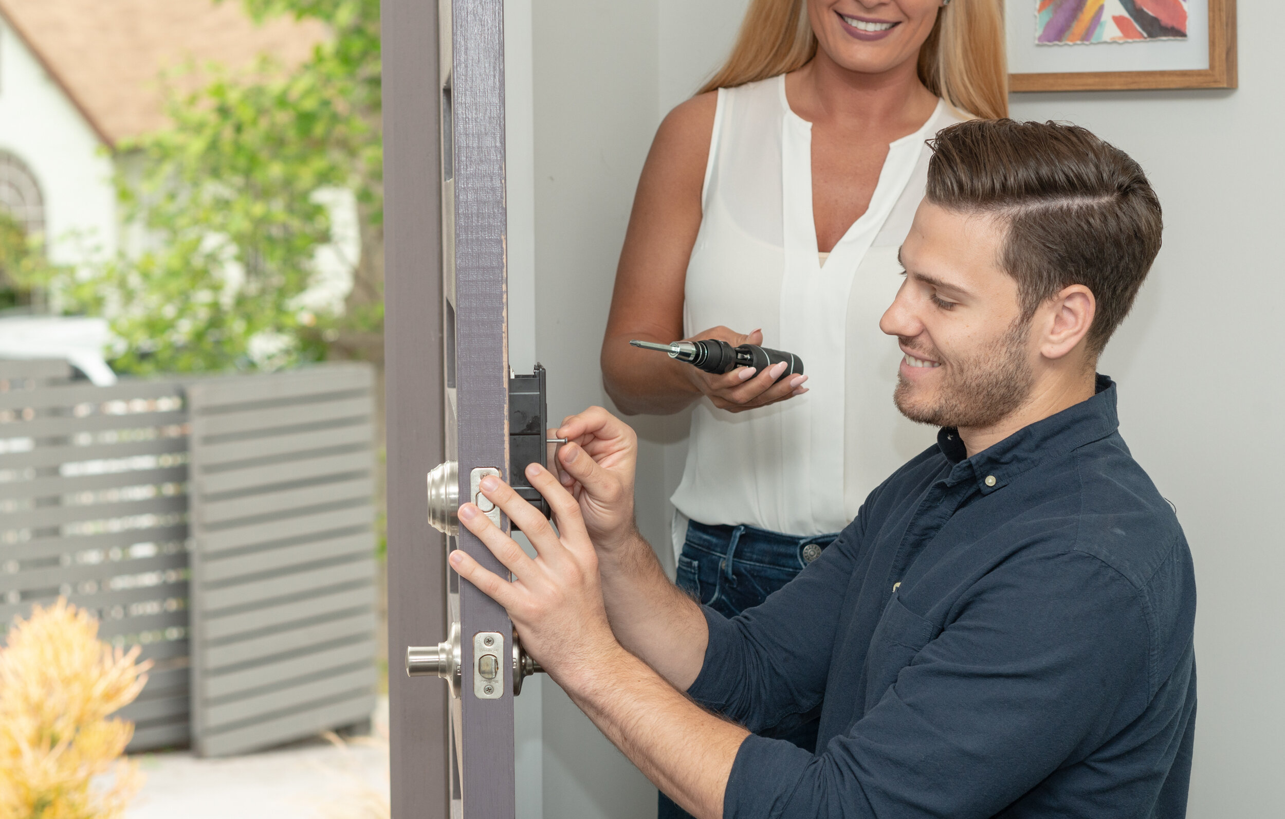 To install, just remove the existing screws and mount the module bracket to your door!