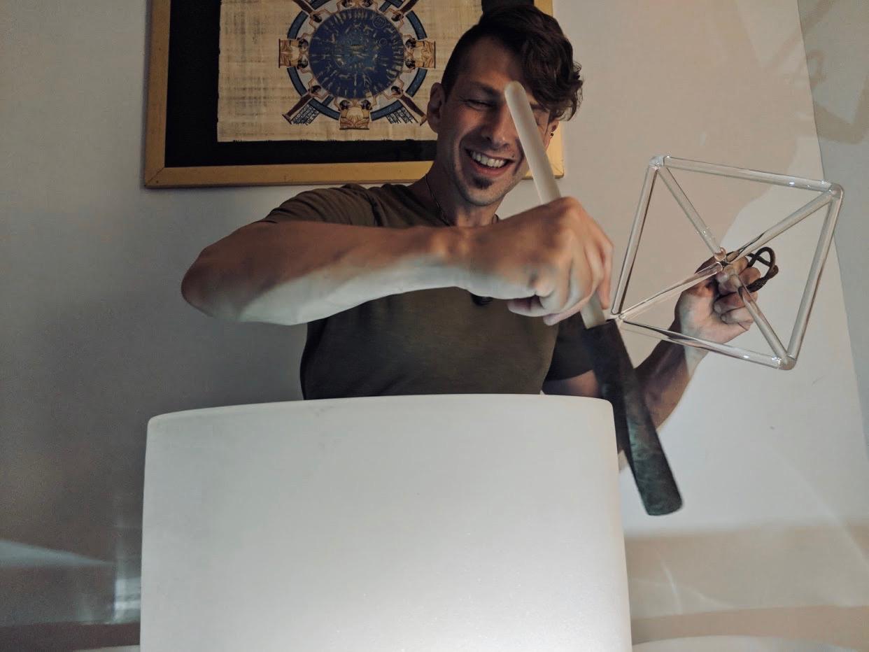 David Ascenza with pyramid and bowl