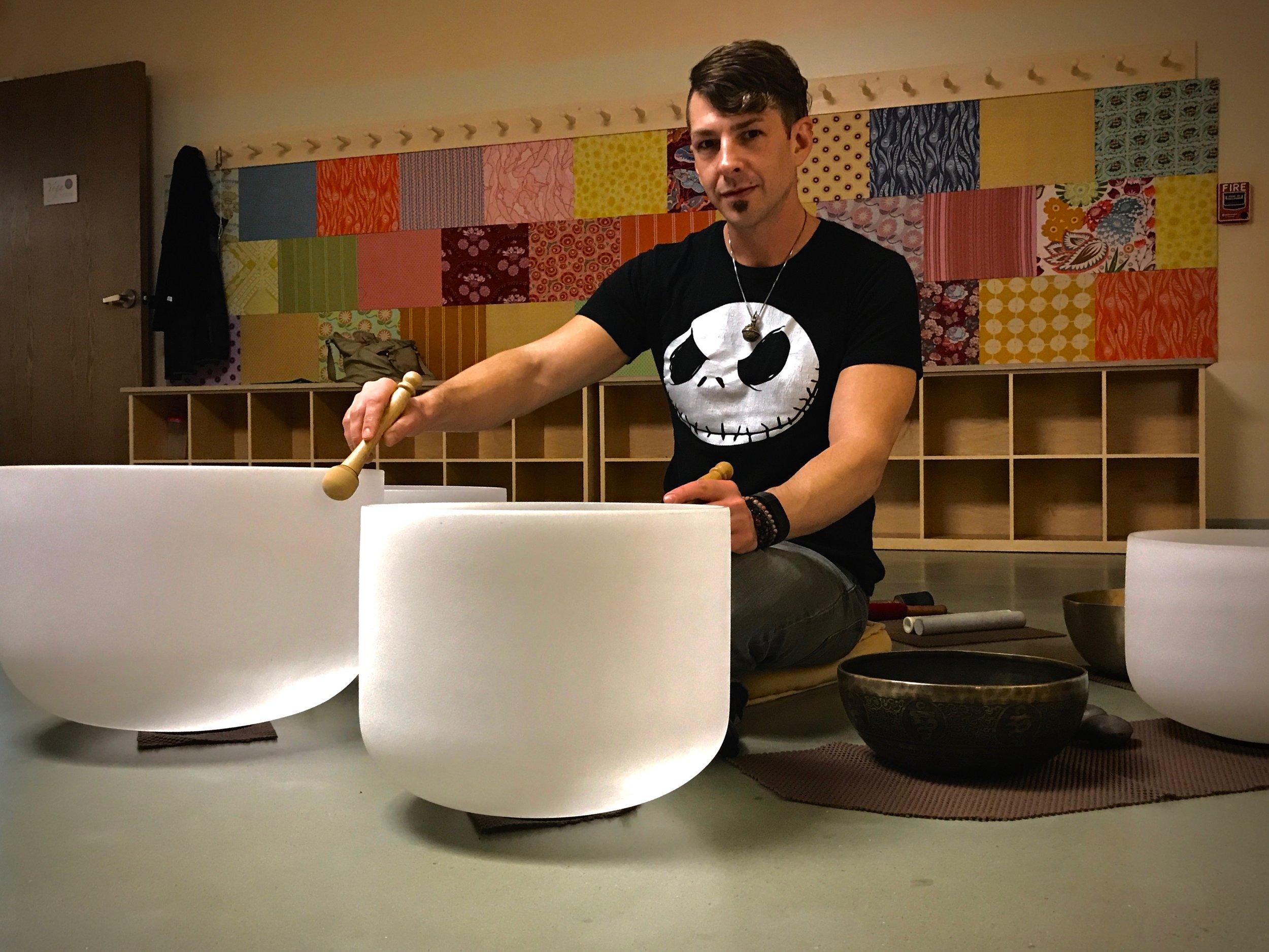 David Ascenza with crystal bowls