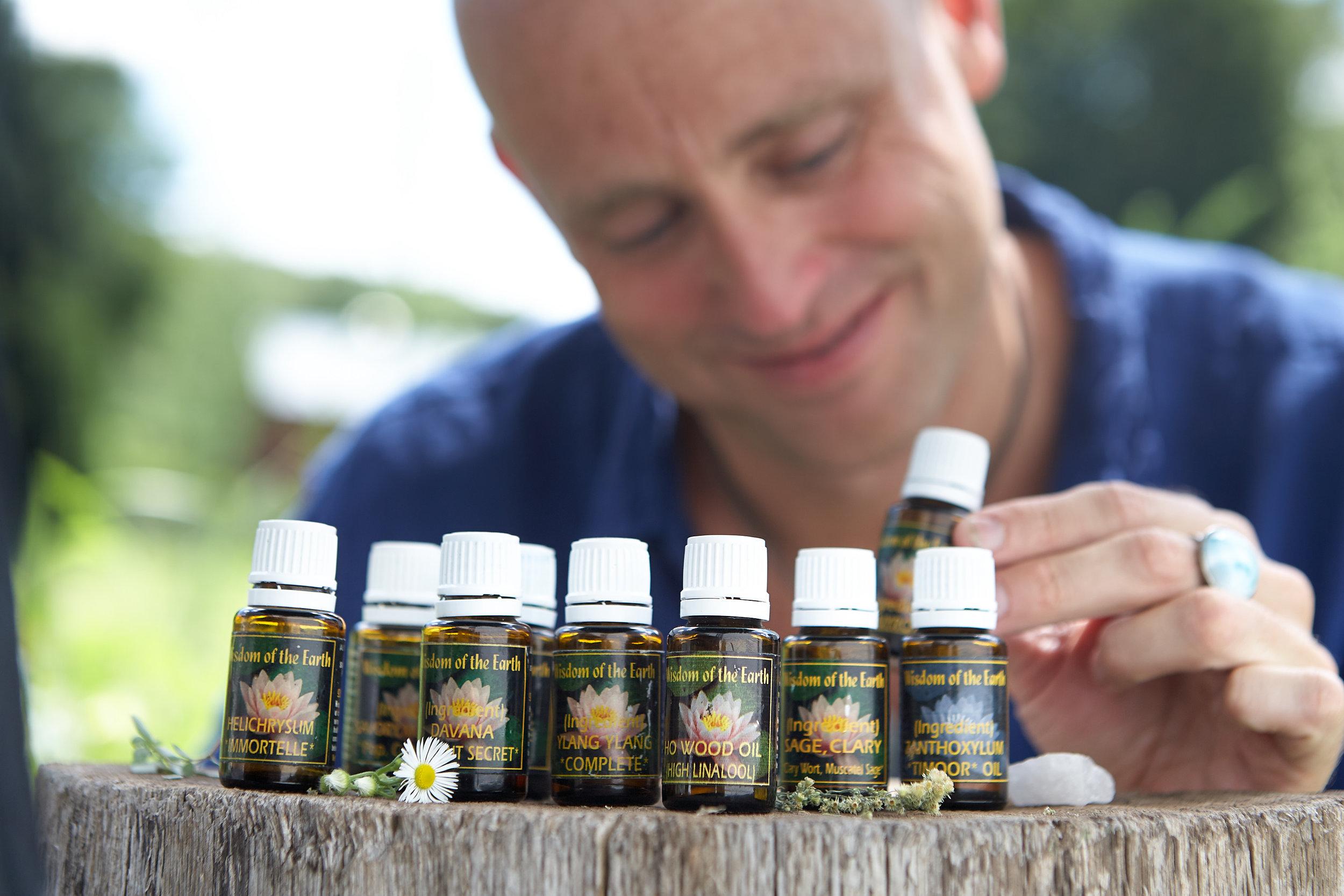 John Odlum with essential oils