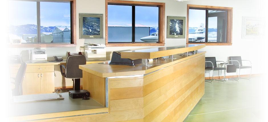 Concierge desk at Teton Aviation Center - Driggs FBO