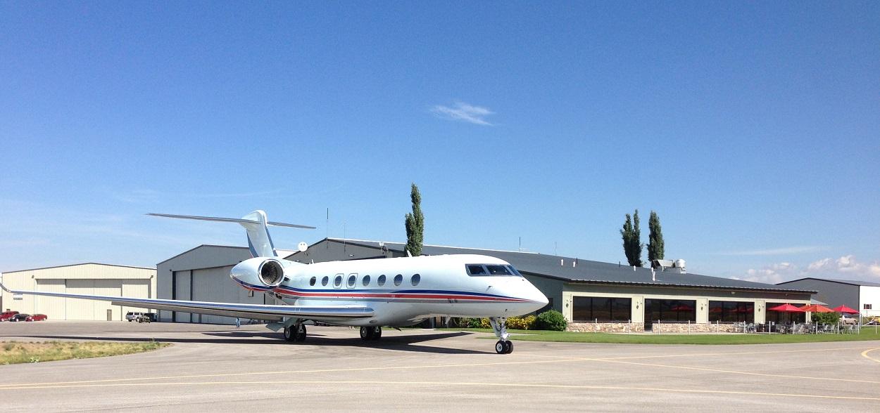Jet leaving Driggs Idaho FBO