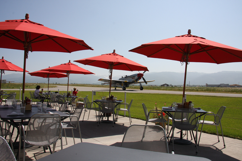 patio at warbirds cafe driggs airport fbo