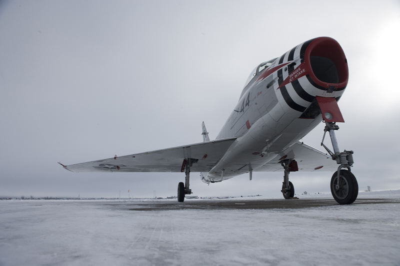 North American FJ-4 Fury on snowy runway
