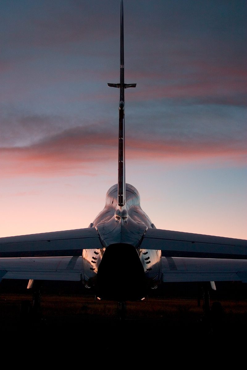 North American FJ-4 Fury tail silhouette in sunset