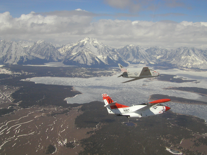 North American T-2 Buckeye over tetons