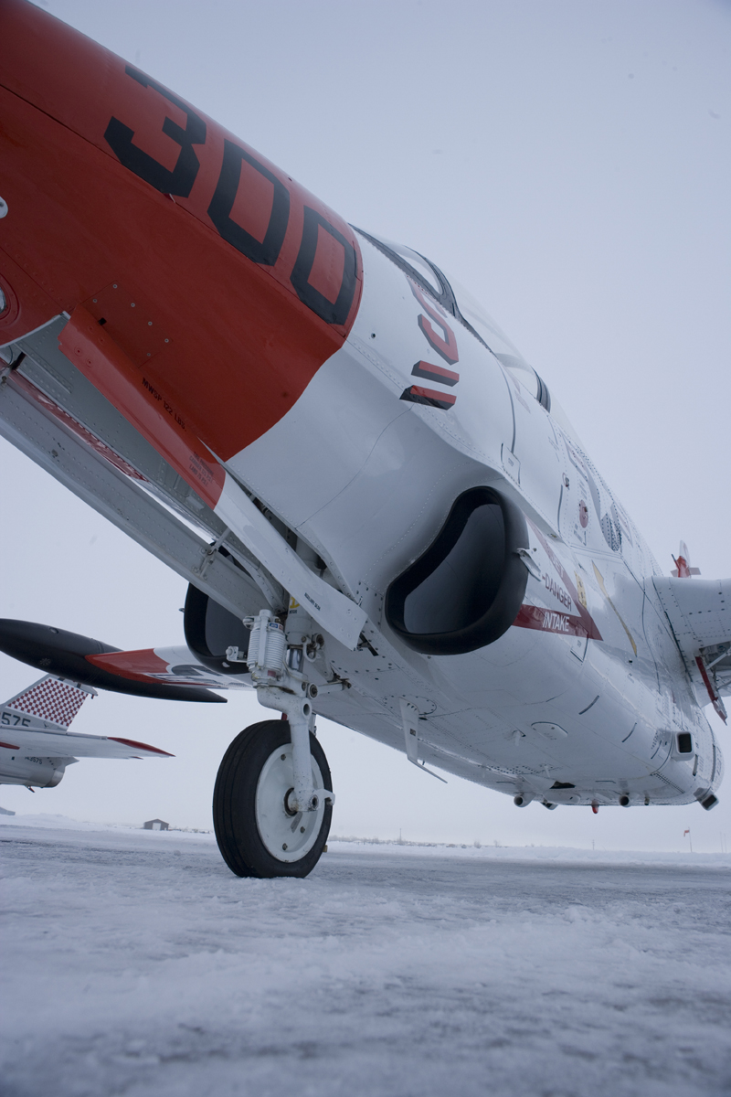 North American T-2 Buckeye on snowy runway