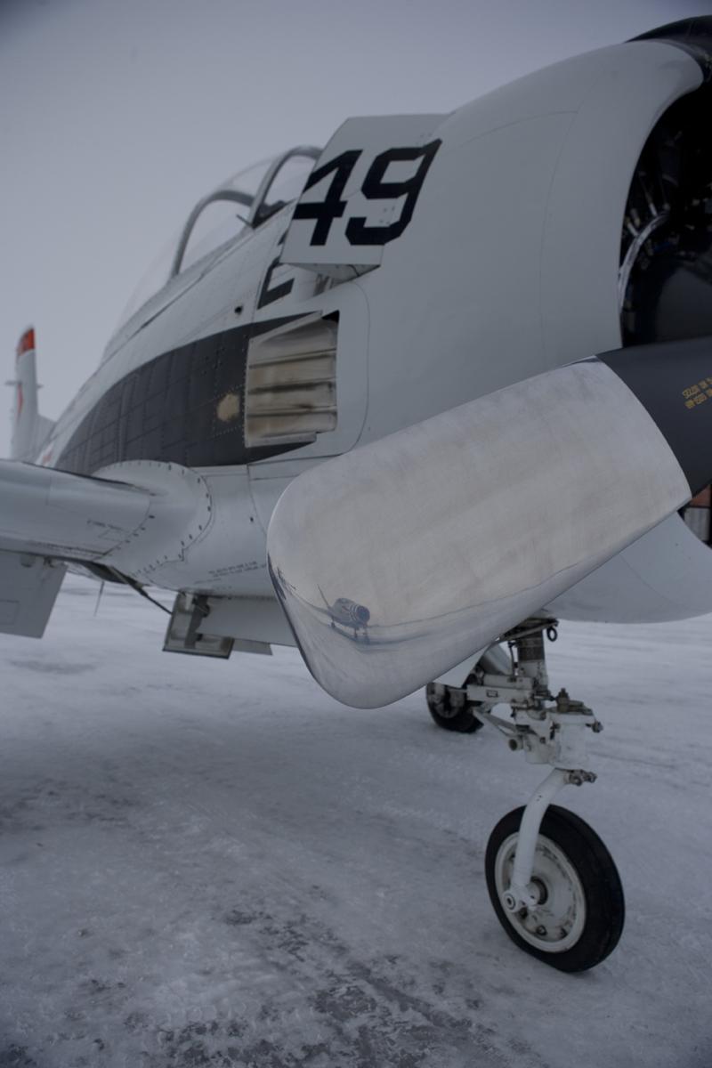 North American T-28 Trojan snowy runway
