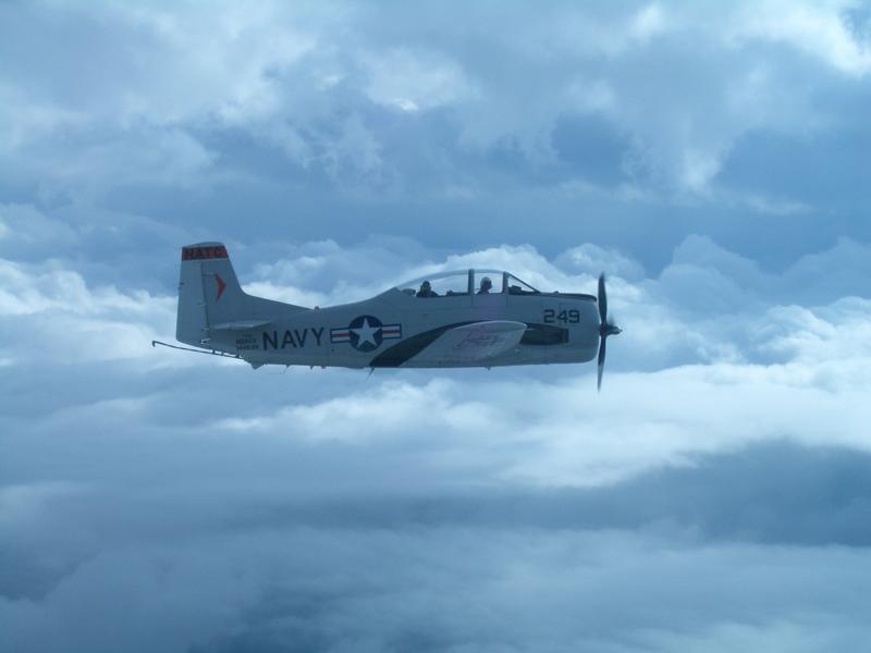 North American T-28 Trojan in clouds