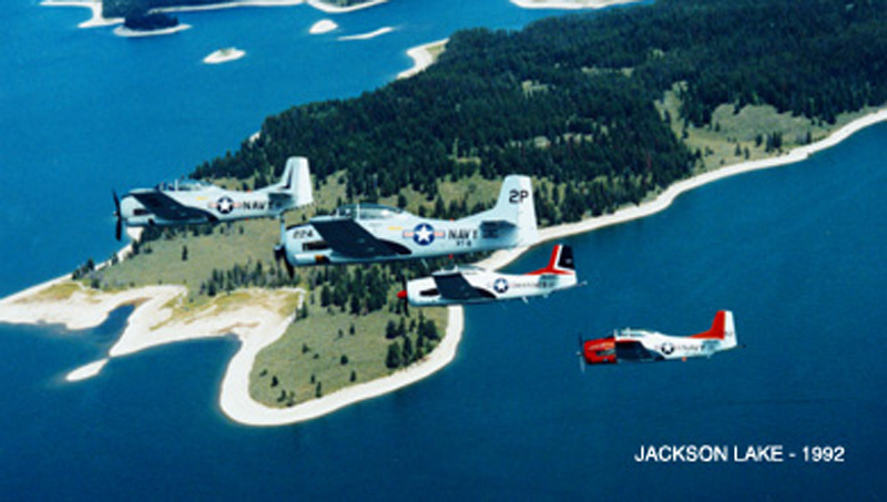 North American T-28 Trojan over jackson lake