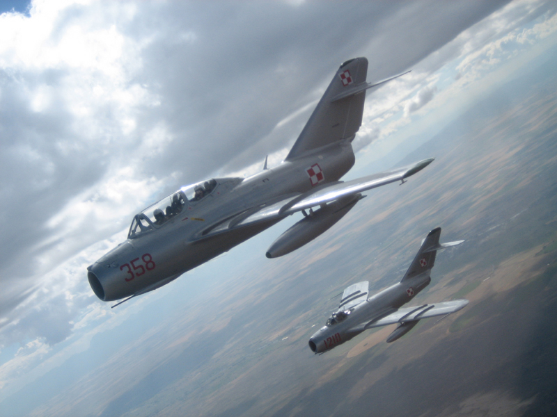 two Mikoyan-Gurevich MiG-15's flying