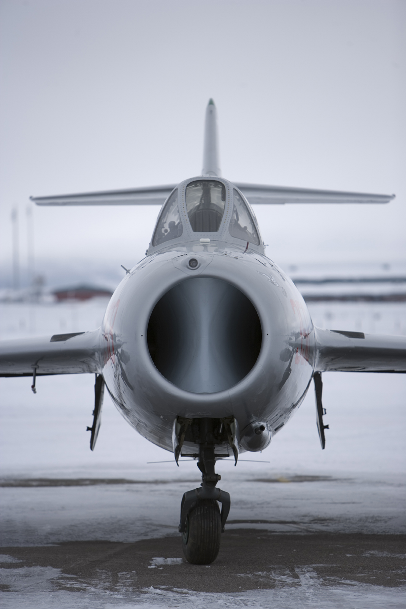 Mikoyan-Gurevich MiG-17 intake on runway