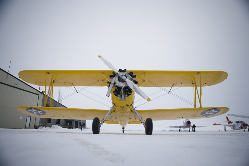 Naval Aircraft Factory N3N on snowy runway