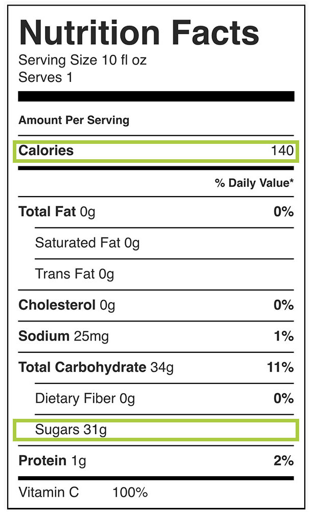 NewTree Fruit Company De-sugared Fruit Nutrition Label Apple Juice
