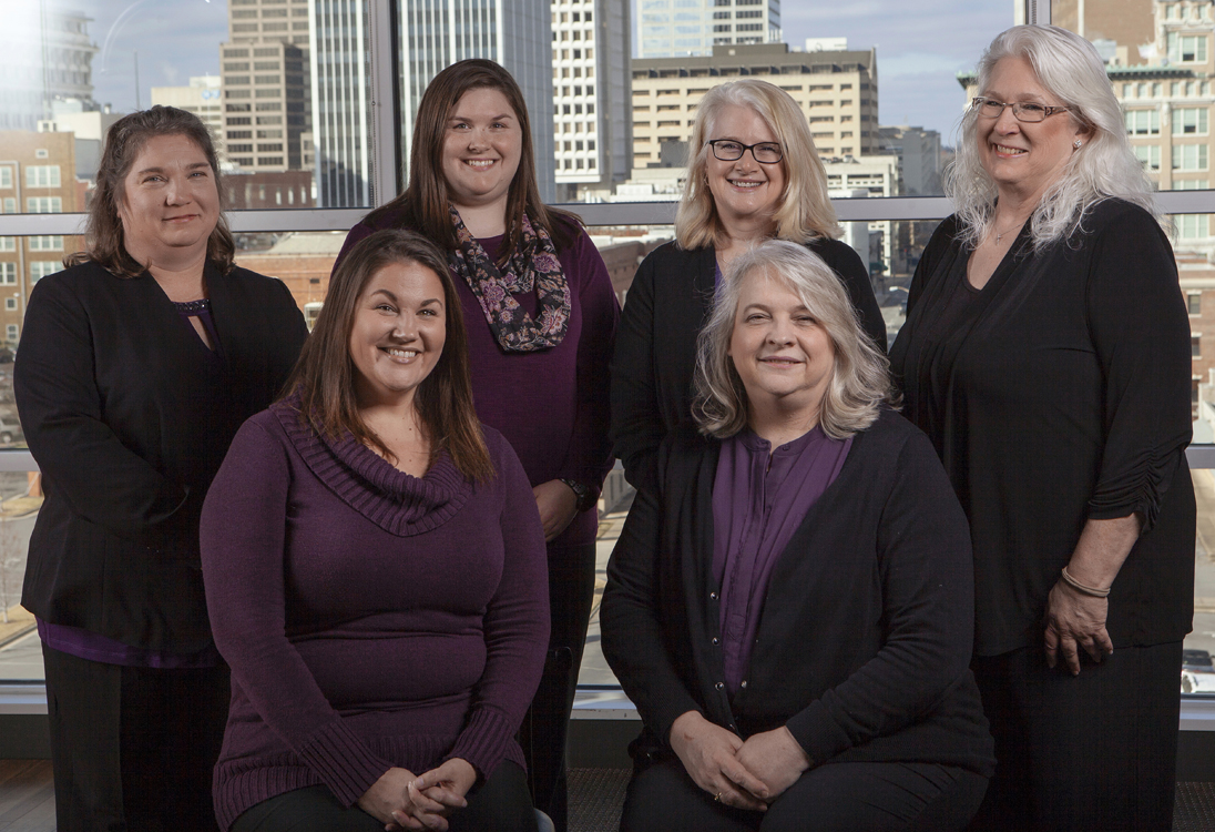 From left to right: Amanda Long, Taxes and Cash Management | Tandra Griffis, General Ledger | Jessica Wendel, General Ledger | Karen Santiago, General Ledger Manager | Stacy Bradford, CPA, Director of Accounting | Kathy Cupples, Accounts Payable | Not Pictured: Glenn Jostad, General Ledger
