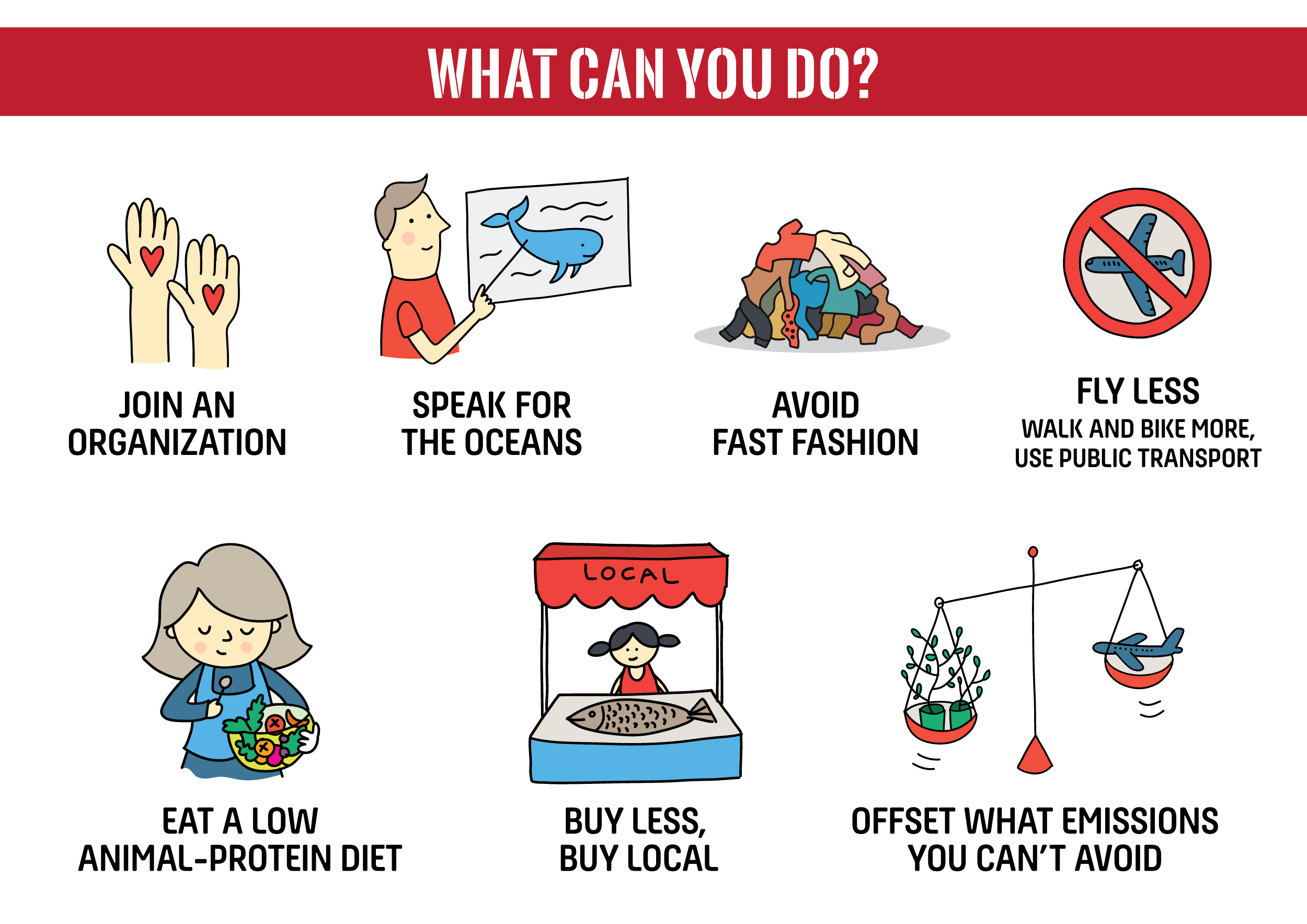 Combat Climate Change - Reduce your carbon footprint: Drive less, fly less; walk and bike more, use public transport and bike more. Source your electricity from renewables.*Offset the carbon emissions you are still responsible for. with reputable companies .**Buy less: Say no to fast fashion; buy clothes that last, wear and repair them, or buy second hand.