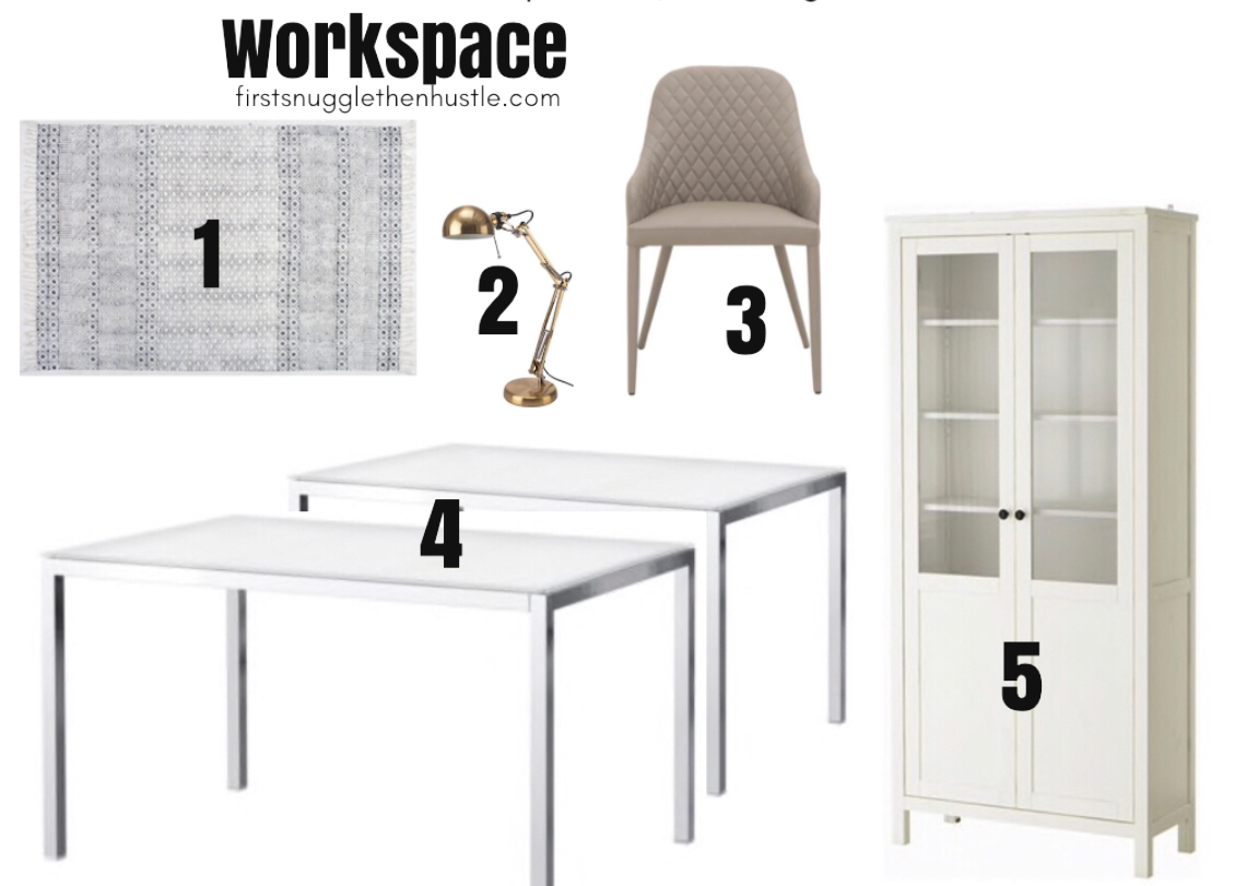 1.  RugsUSA Chembra Rug  / 2.  Ikea Desk Lamp  / 3.  Neutral Brown Quilted Chair  / 4.  Ikea Table  / 5.  Ikea Hemnes Cabinet