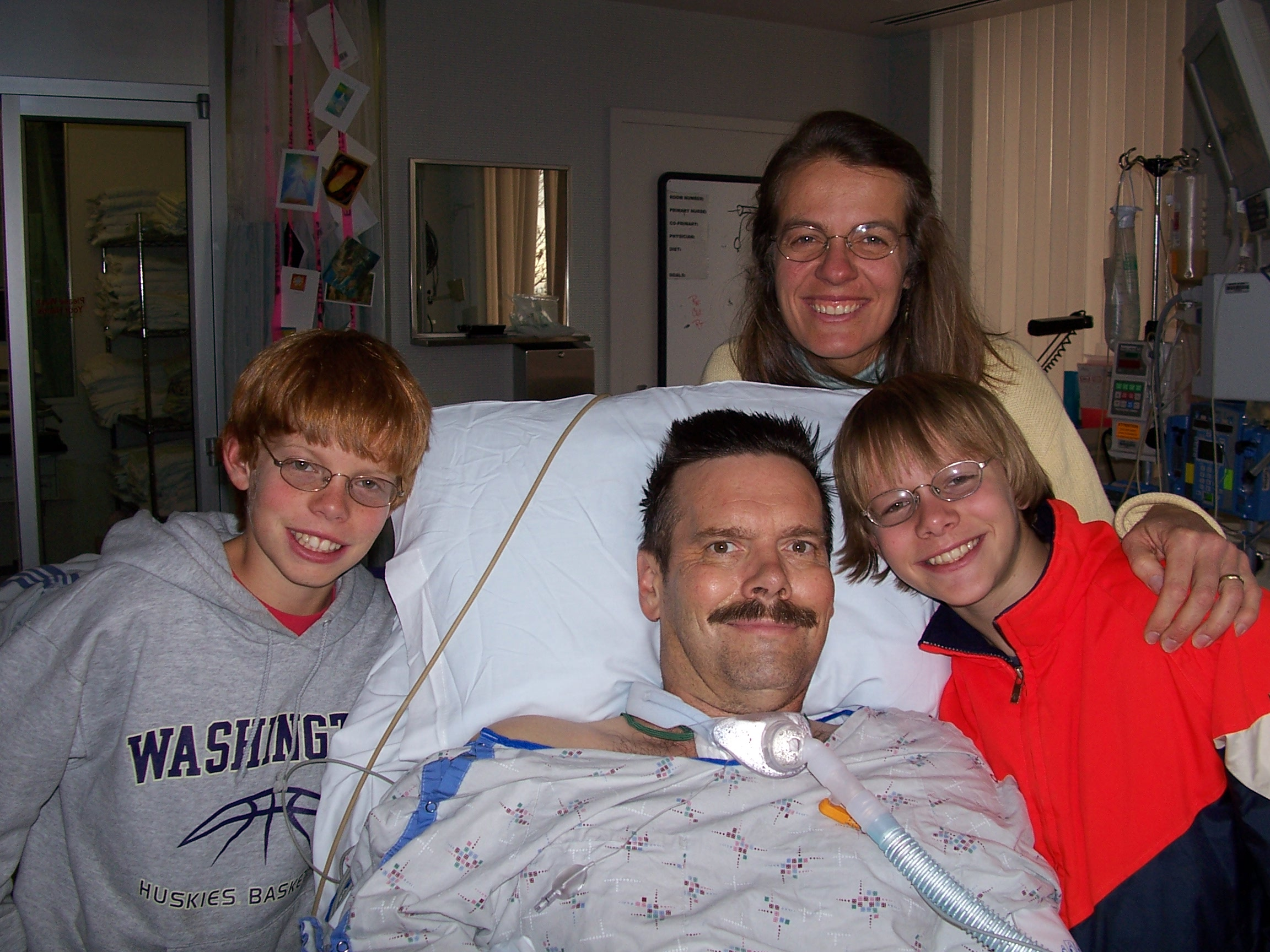 Geoff and his family in the hospital in 2005.