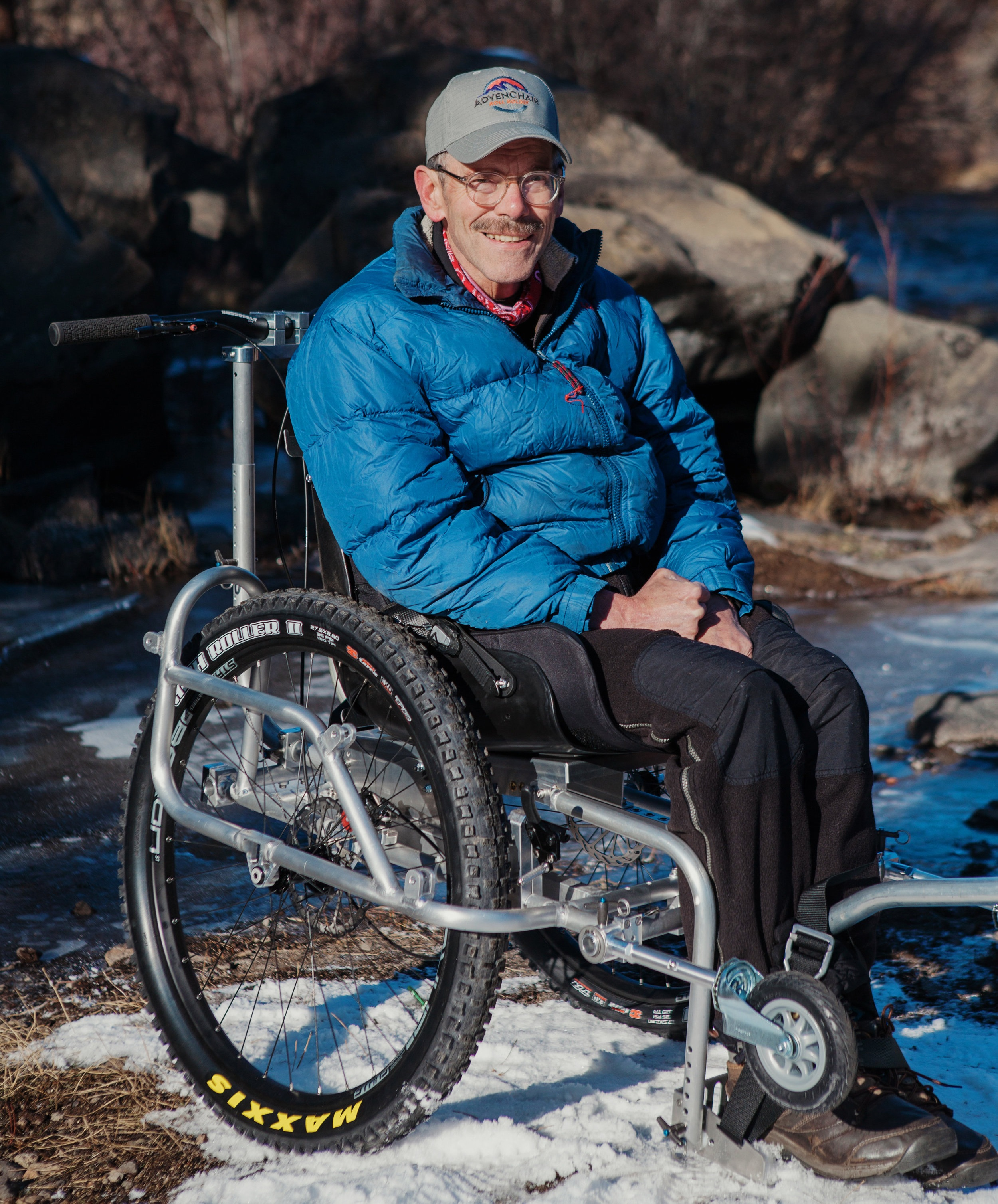 The AdvenChair, created by  Geoff Babb and Dale Neubaurer , is an all-terrain wheelchair designed to go off-road.