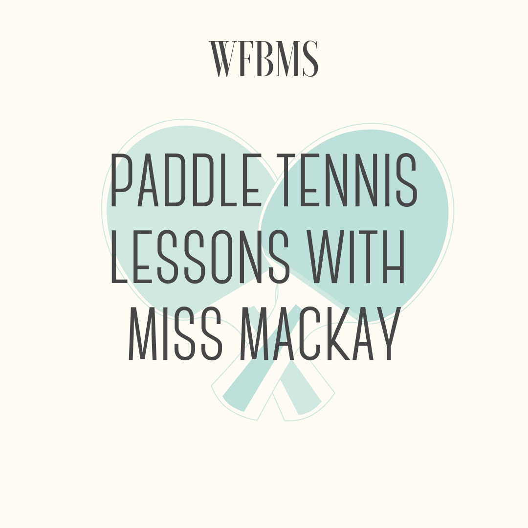 Paddle Tennis Lesson with Miss Mackay - 1 free Paddle Tennis lesson for 3-4 individuals to take place at the Town Club. I can teach the basics of the sport as well as some strategies when it comes to match play.The prize is valid from November 2019-April 2020.Can choose 4 people for the lesson or 3 people and Miss Mackay will play in.