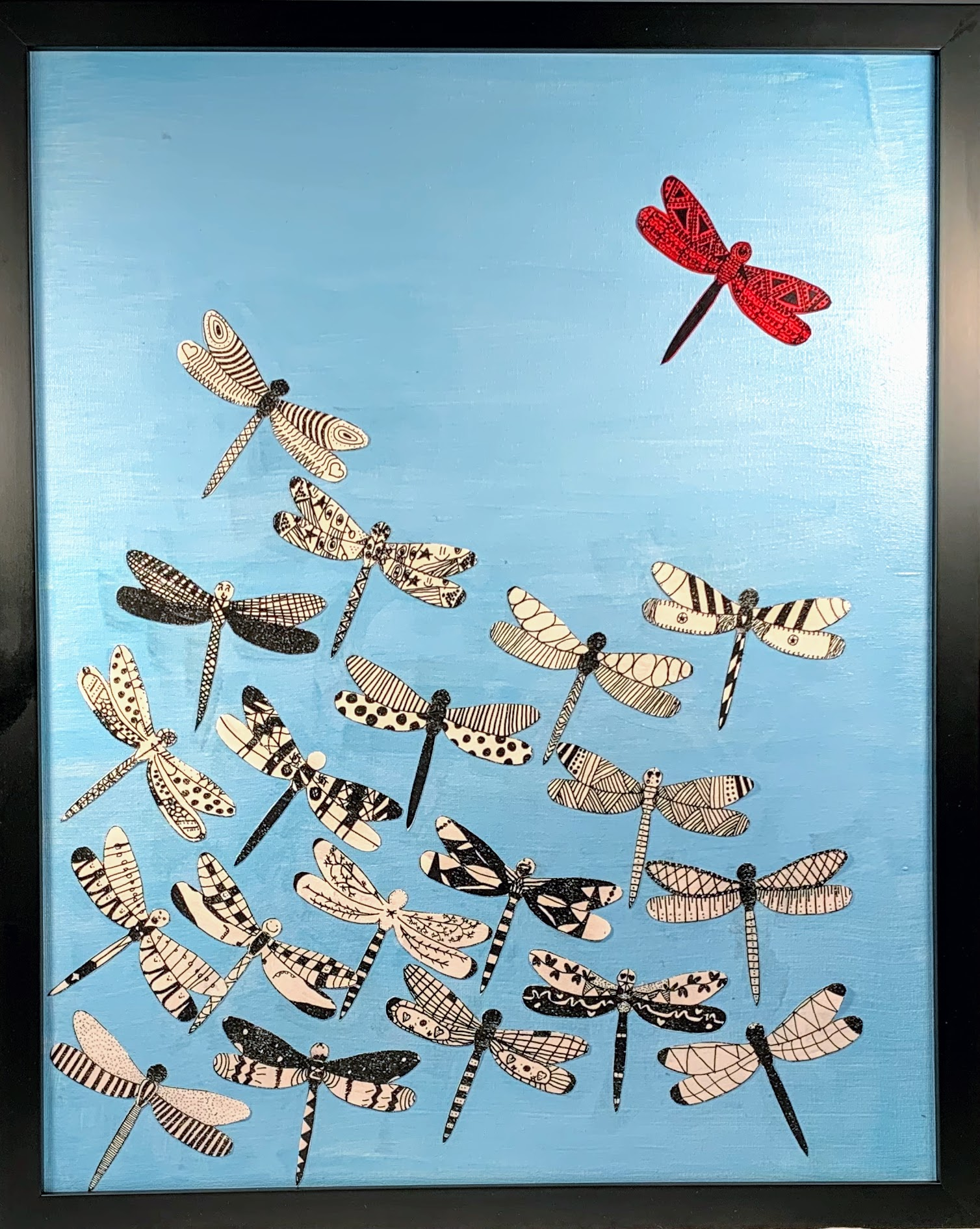 RICHARDS 4TH GRADE: Dragonflies - Hand decorated dragonflies take flight in these one of a kind framed canvas pieces created by our fourth graders. We were only able to photograph one as they came to us from the framers wrapped up for safe-keeping. They will all be on display at the Bay Ball!