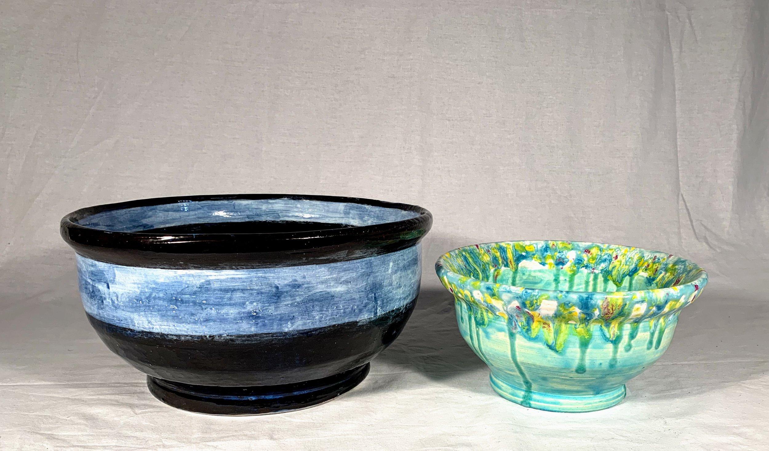 Blue Band and Teal Splatter Set of 2 Nesting Bowls