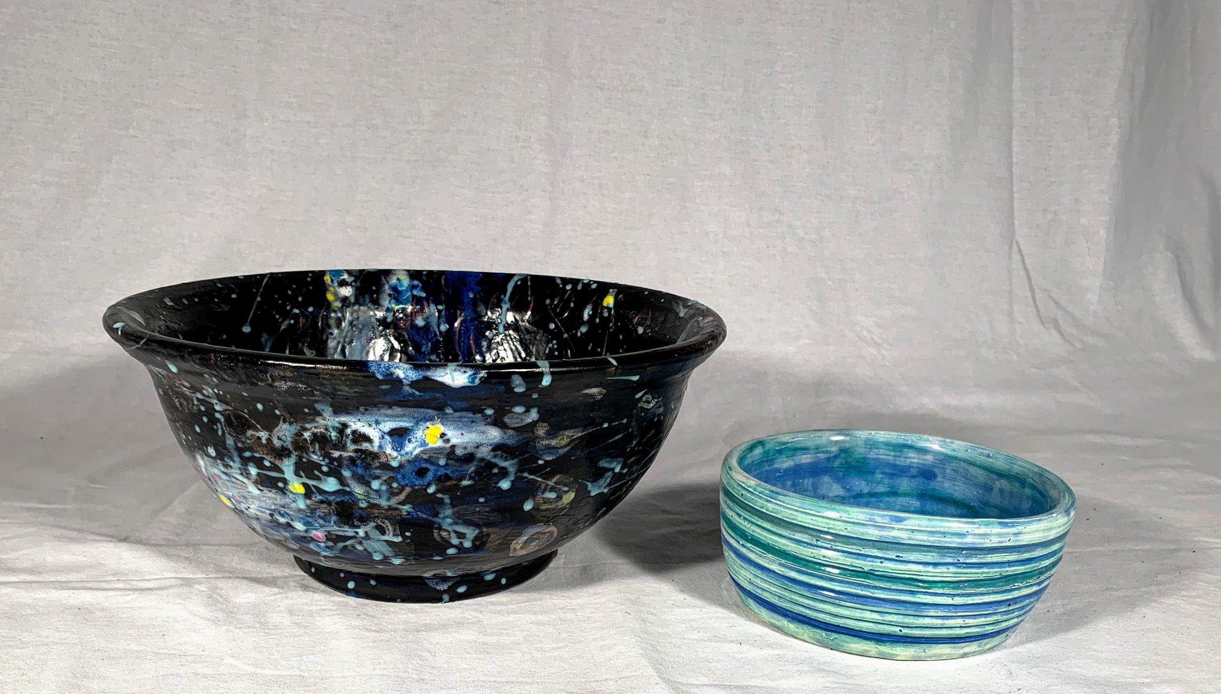 Black Splatter and Blue Stripes Set of 2 Nesting Bowls