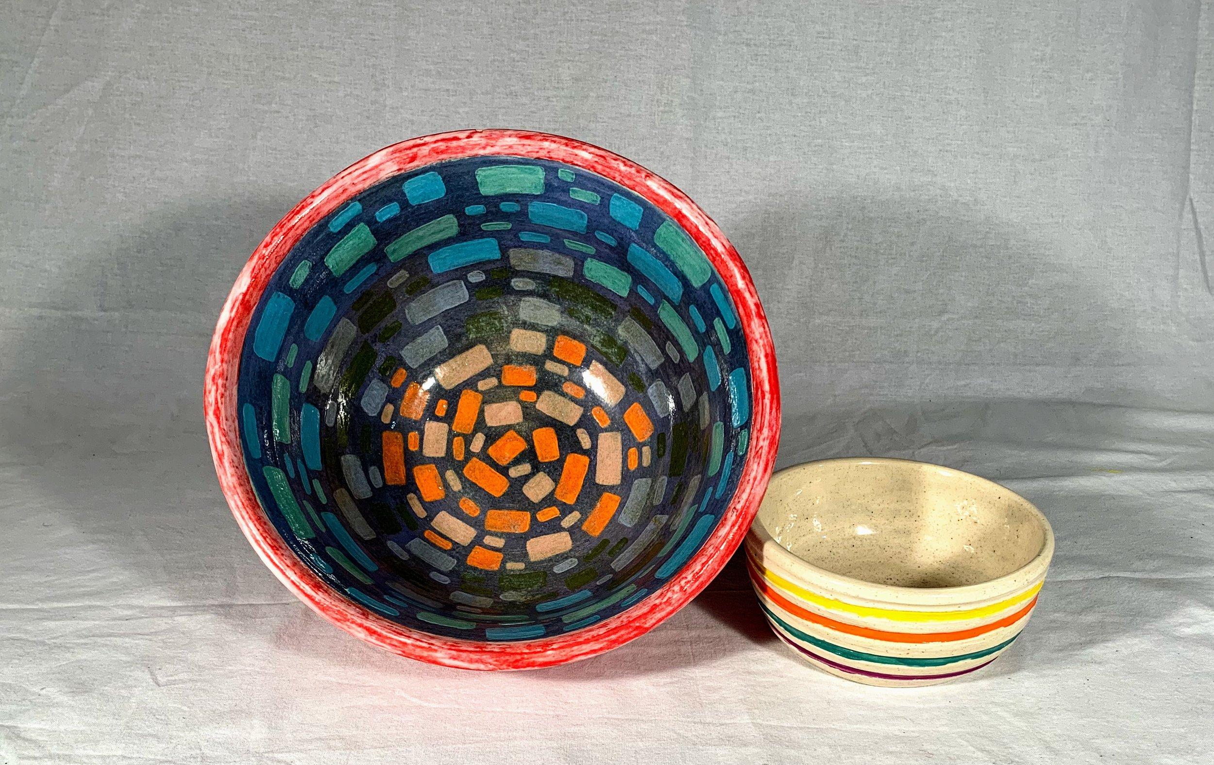 Stripes and Rectangles Set of 2 Nesting Bowls