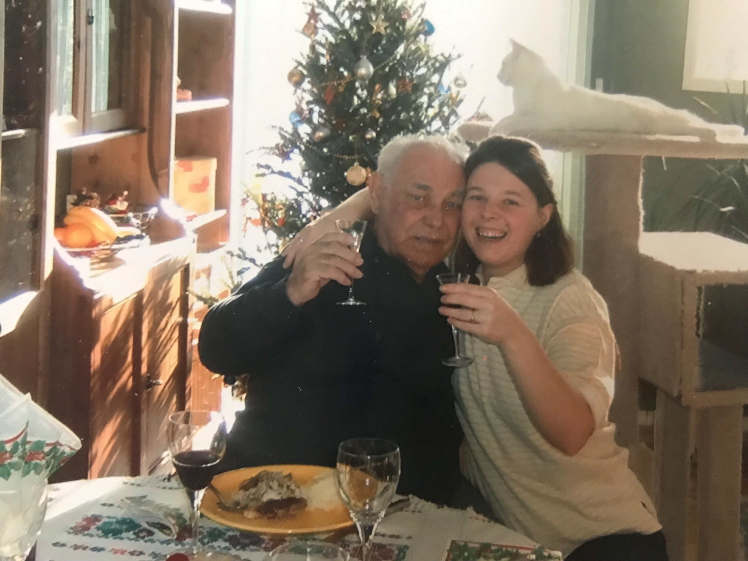 Judith, Founder of CCC, alongside her grandfather while he visited Canada in 2002.