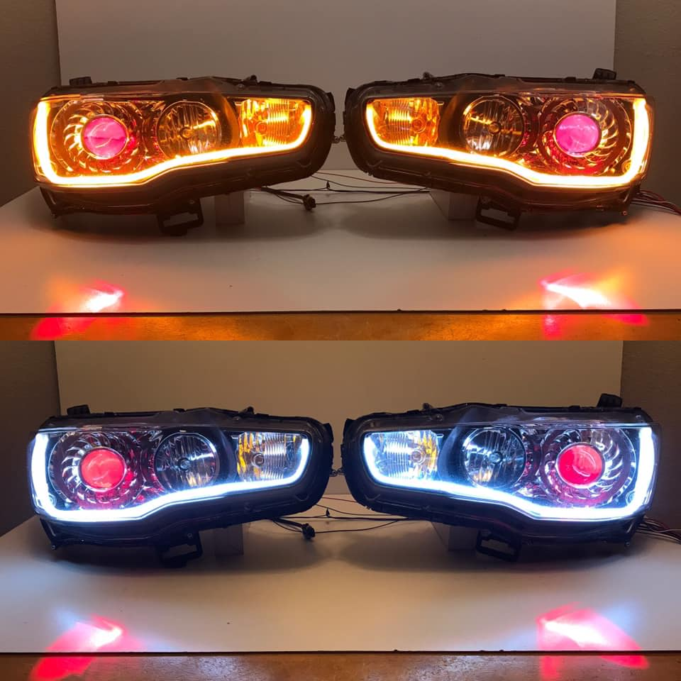 EVOxRetrofit - Bi-Xenon HID Conversion KitTurbine shroud with Bloodshot Evil Demon Eyes 6k White DRL Sequential Switchback Amber LED Turn Signals