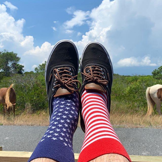 'Merica 🇺🇸 . . . #america #american #socks #patriotic #merica #merica🇺🇸 #me #maryland #oceancitymaryland #assateagueisland #travel #landscapephotography #nature #horses #horsesintheback #shoefie #footselfie #fromwhereistand #ihavethisthingwithfloors #fourthofjuly #4thofjuly #independenceday