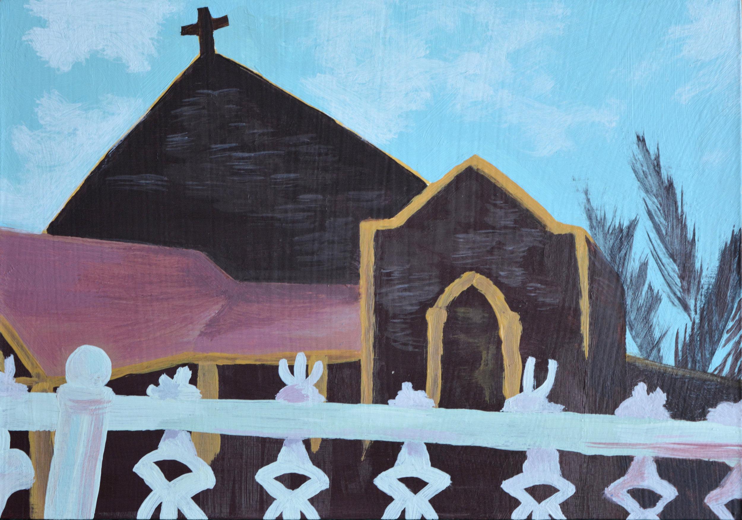 Small Chapel  5 x 7 inches, acrylic on wood panel, 2018