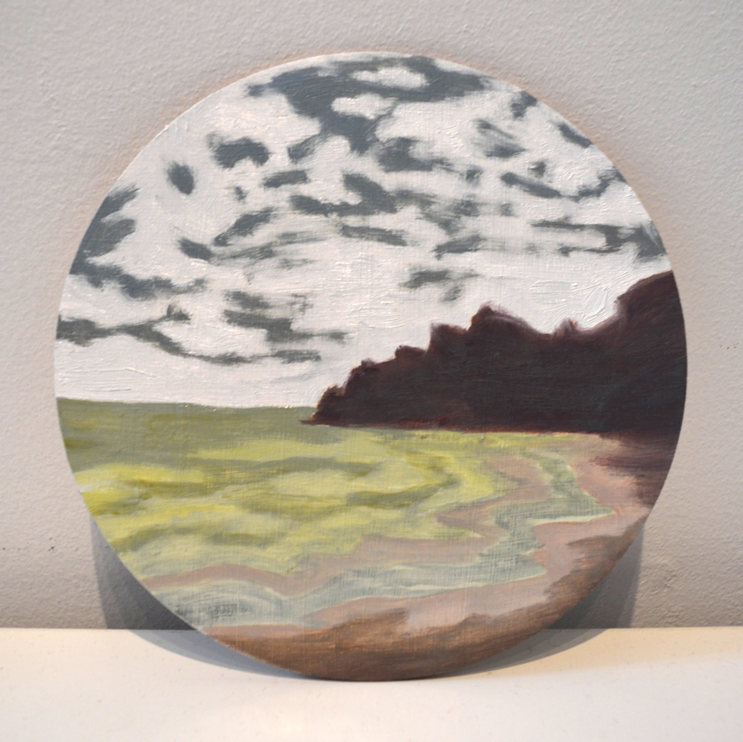 Indian Bay, S.V.G.  oil and acrylic on wood panel, 6in diameter, 2015