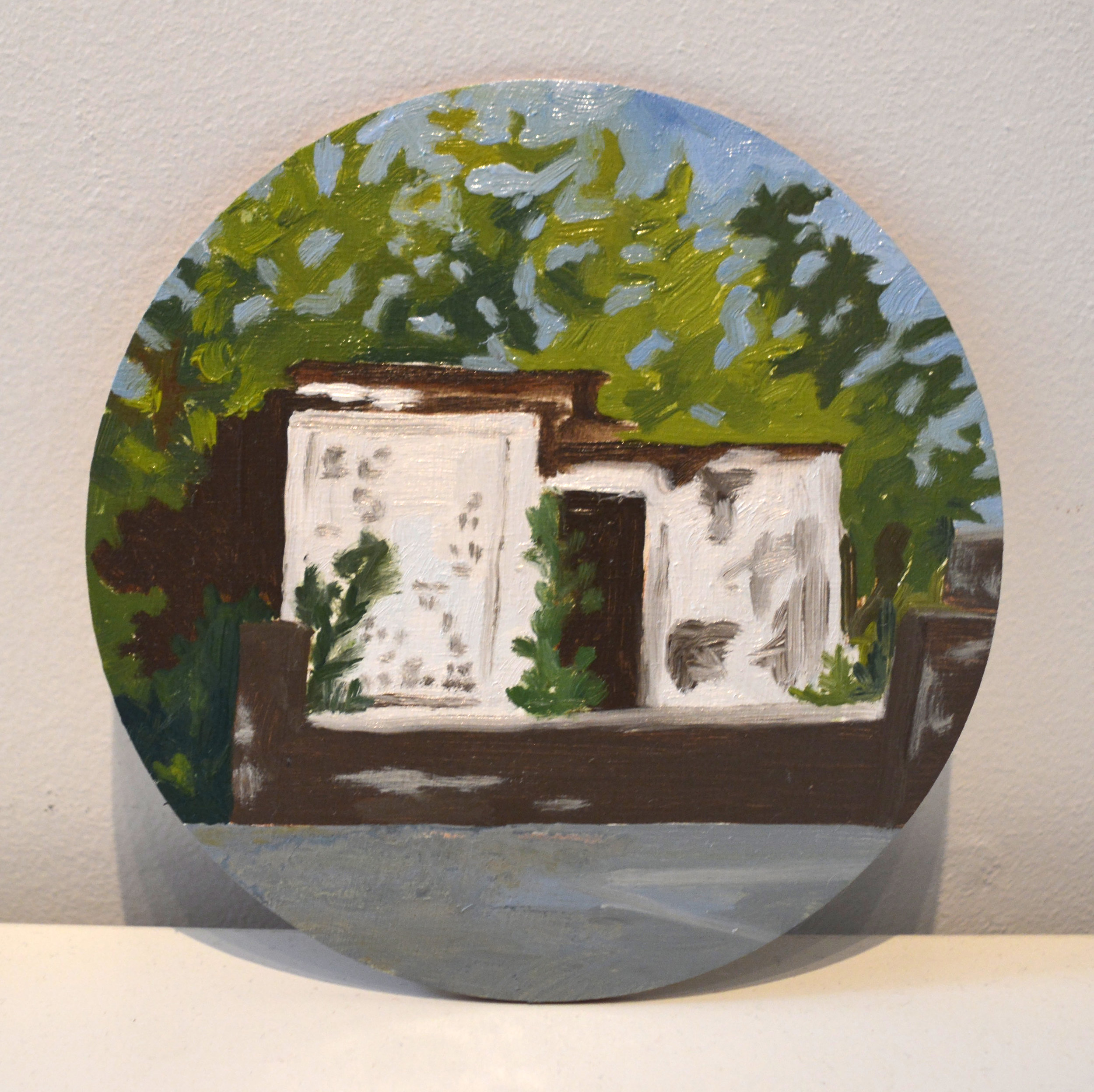 Jumbie House  oil and acrylic on wood panel, 6in diameter, 2015