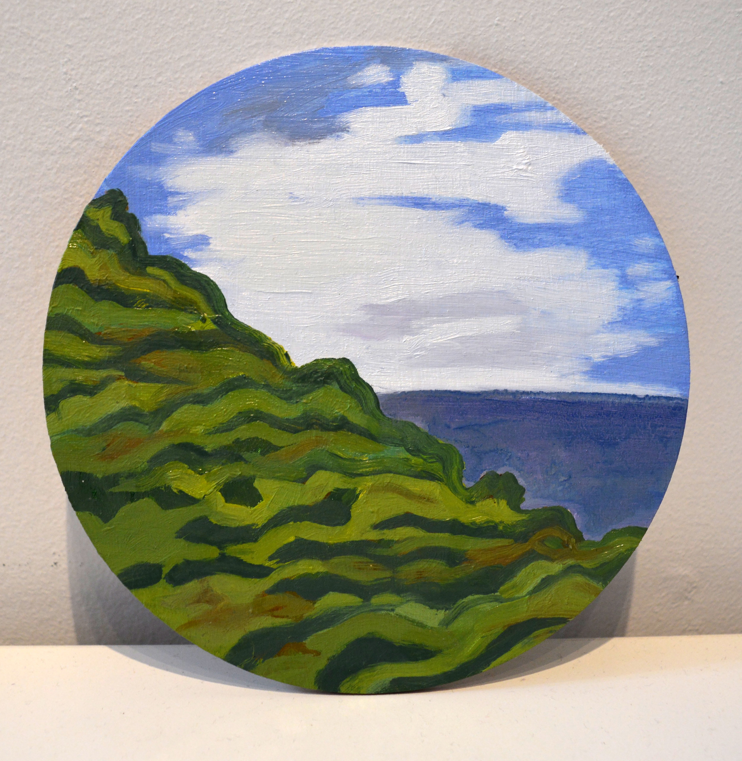Petite St Vincent  oil and acrylic on wood panel, 6in diameter, 2015