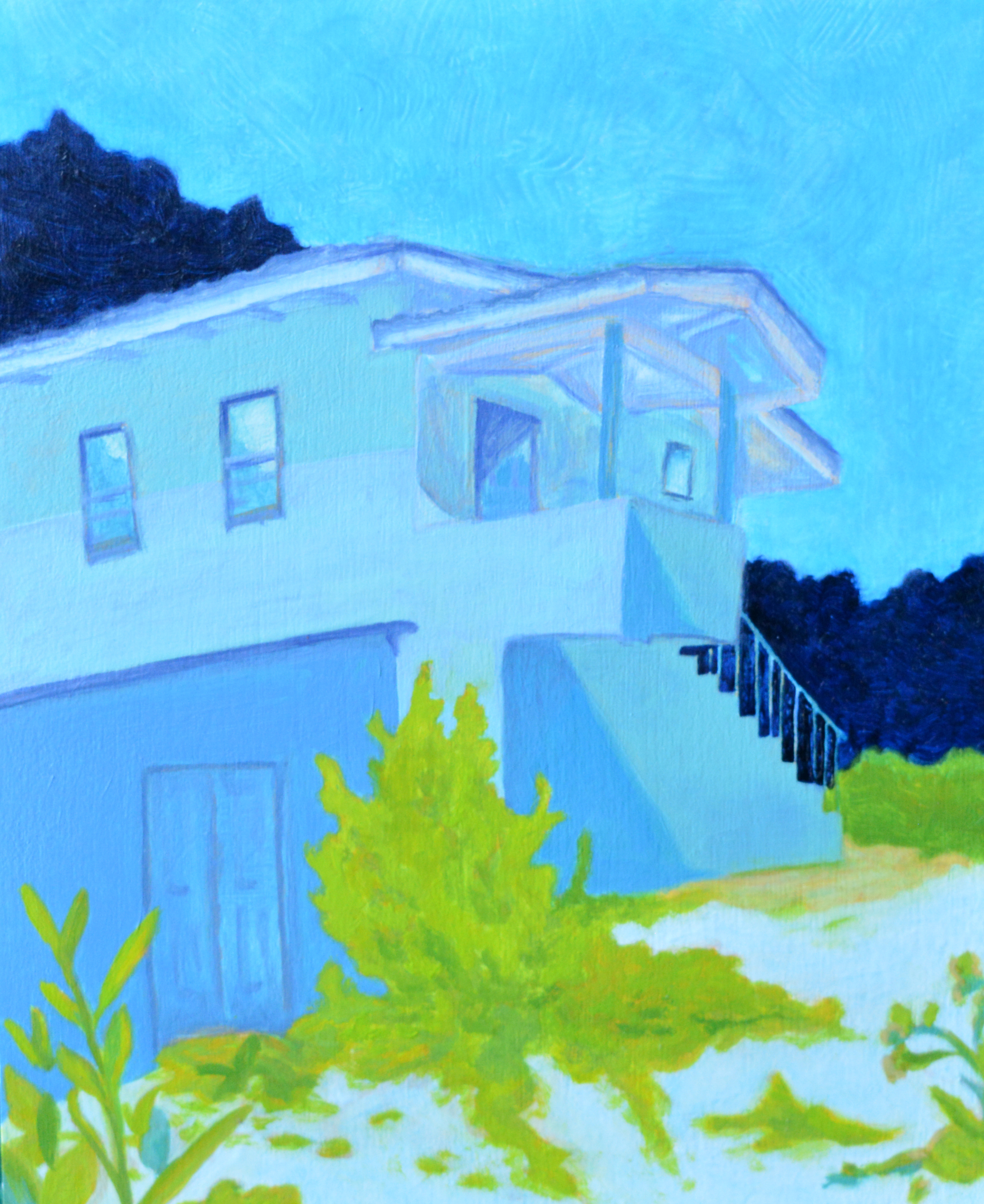 Blue House  oil and acrylic on wood panel, 10in x 8in, 2017