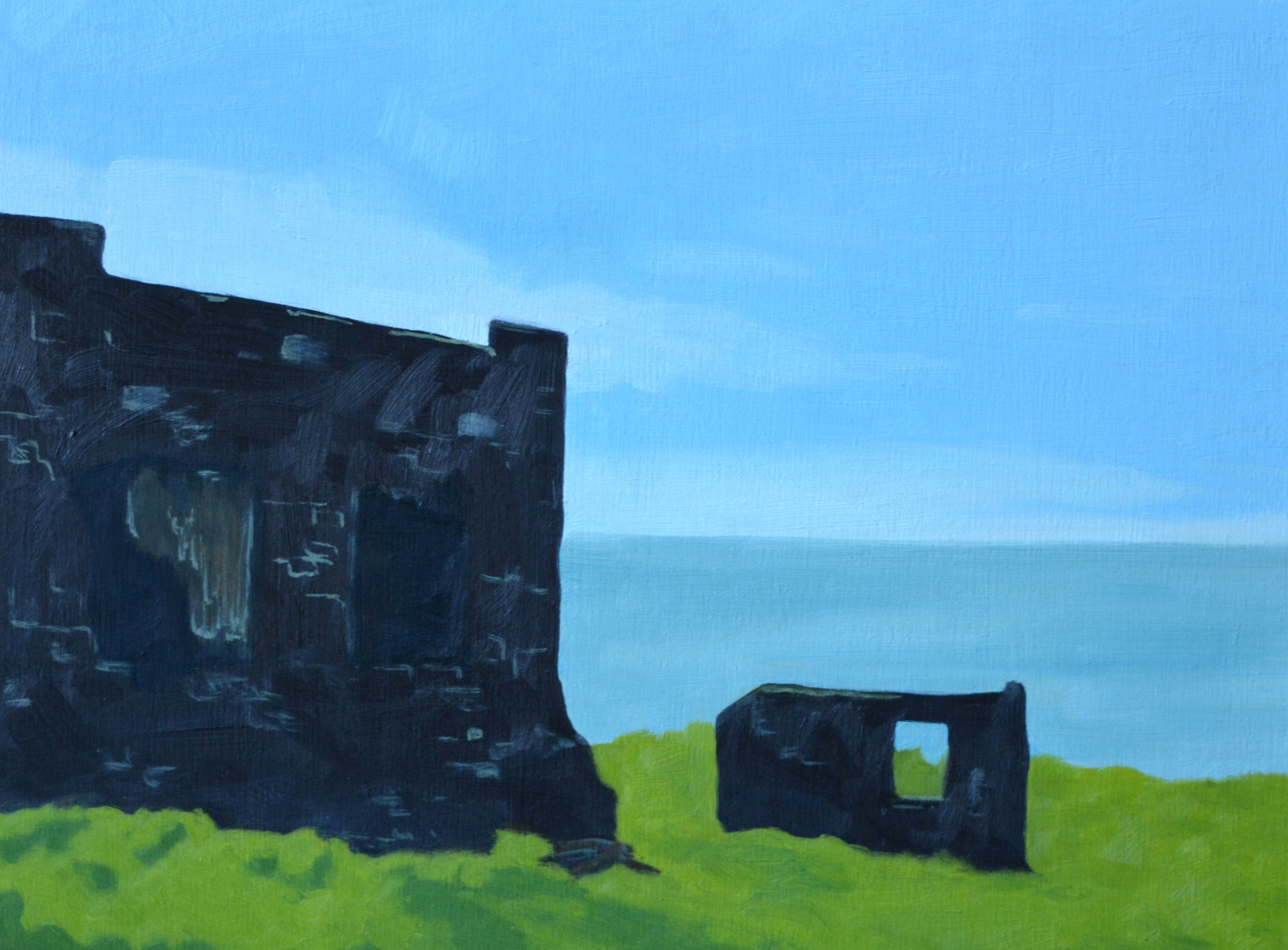 Coastal Ruins  oil and acrylic on wood panel, 9in x 12in, 2017