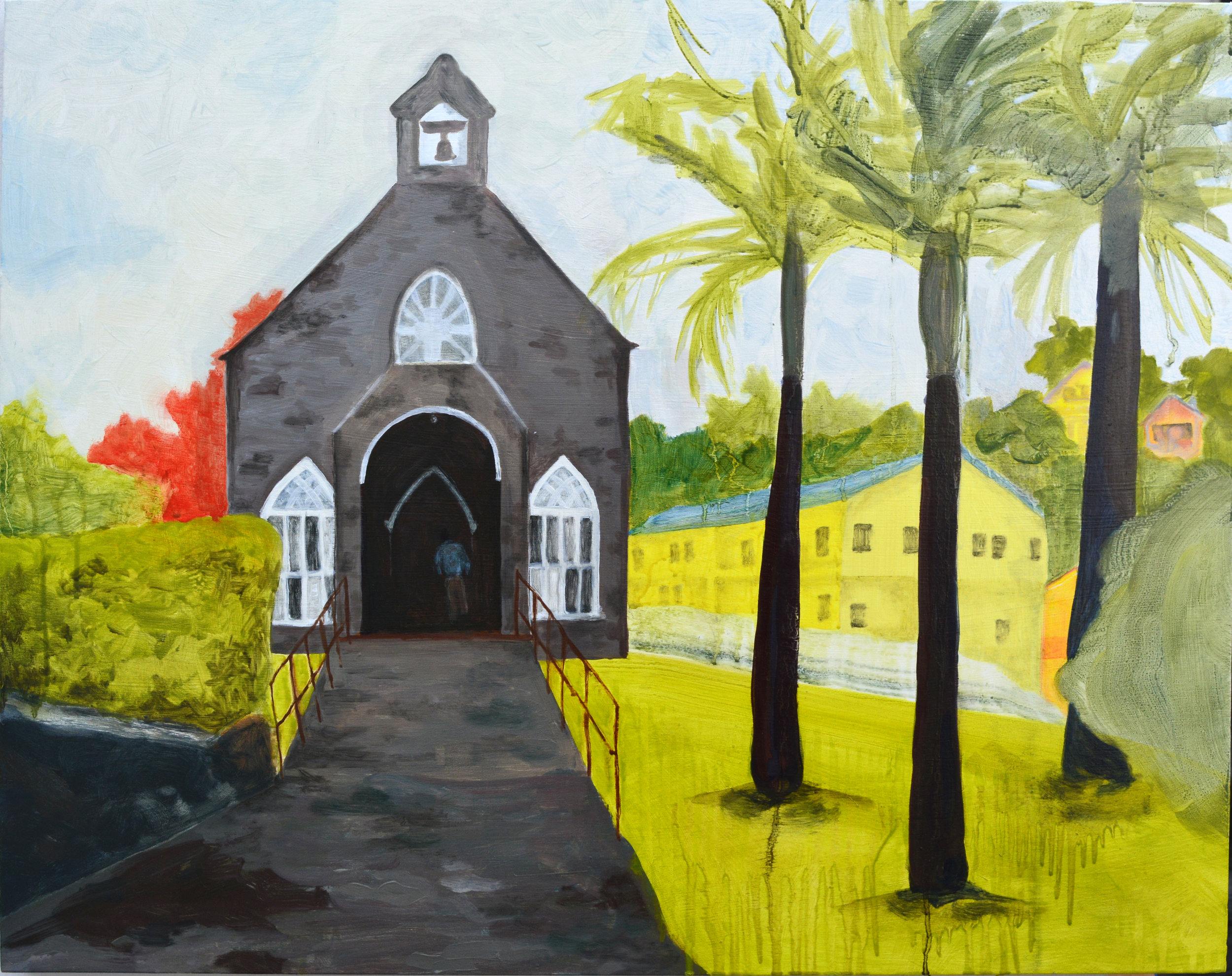 The Church  oil and acrylic on wood panel, 24in x 30in, 2015