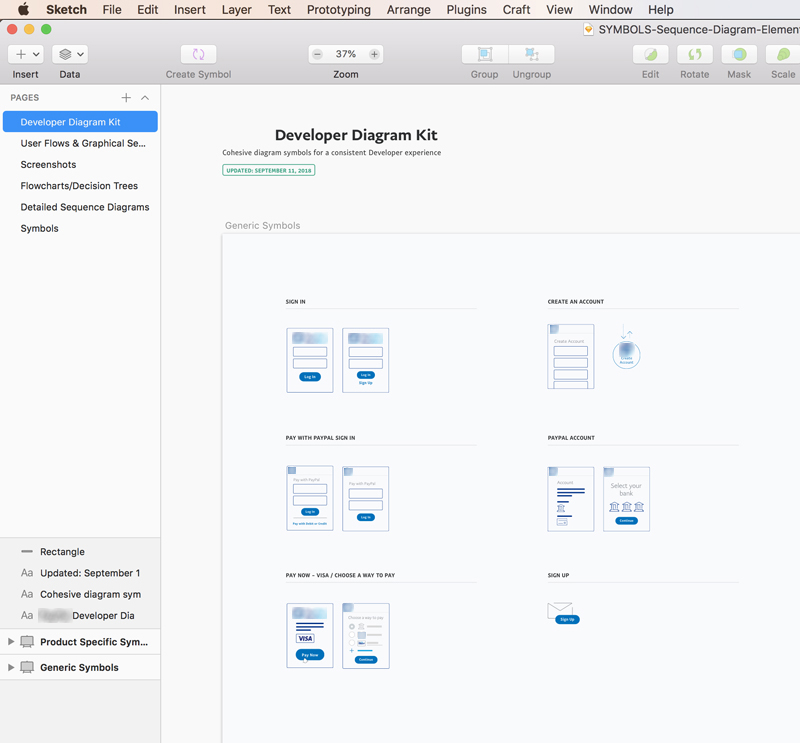 Symbol Library & UI System - This project focuses on applying standards to the visual design of diagrams and flows of a documentation site to promote brand consistency. To do so, I created a symbol library that enables other product teams to build diagrams and visual assets for their product documentation.