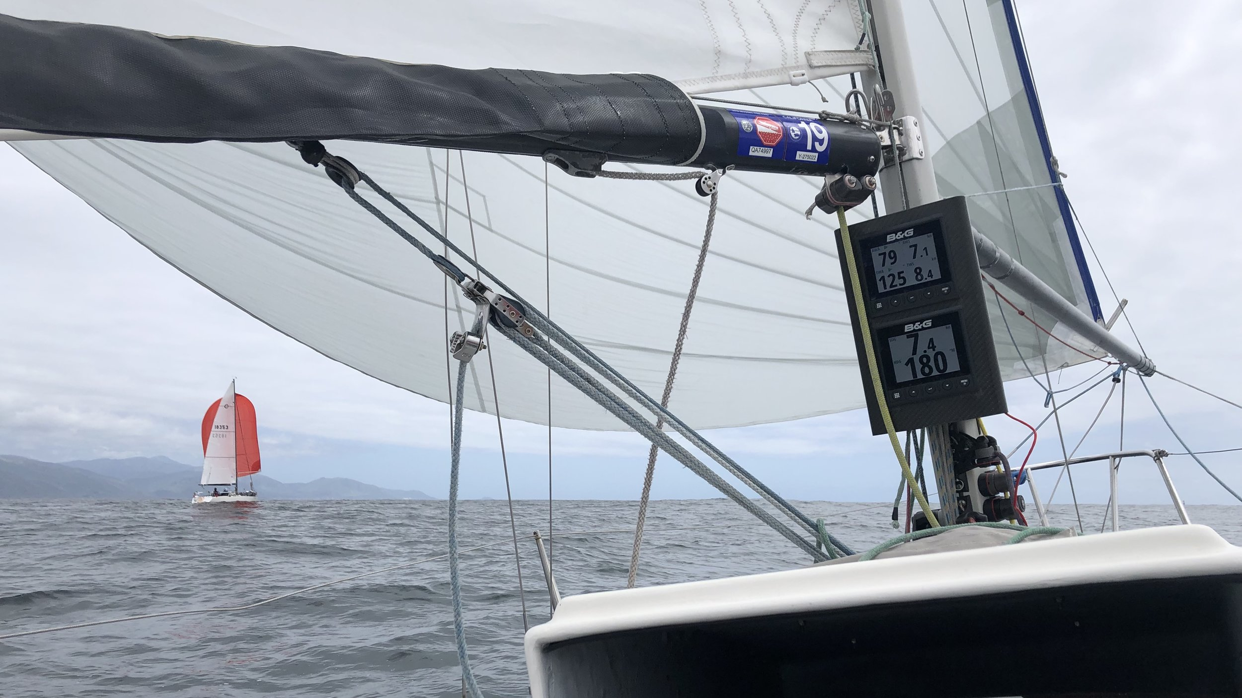 Check out those numbers. A2.5 sailing its optimal angle