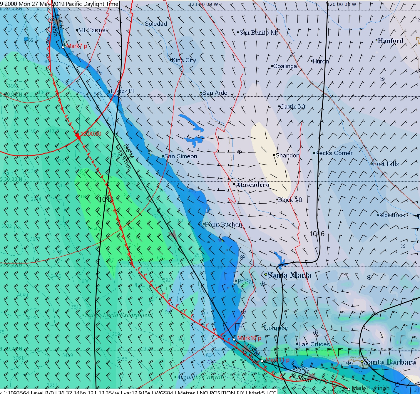 Planned route. We caught up to the 25kt pressure zone and rode it south