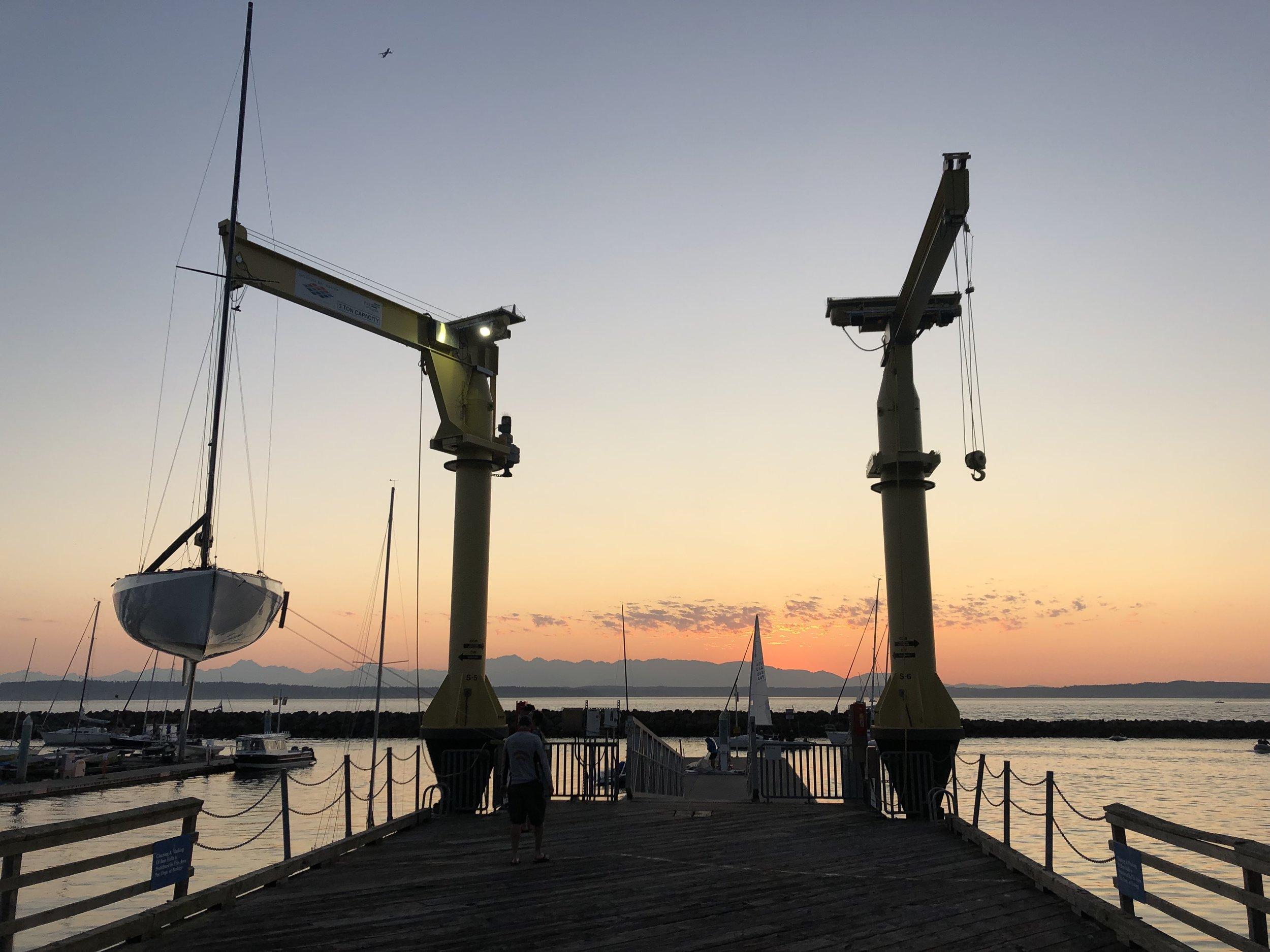 Warm summer evening sailing among the Olympics
