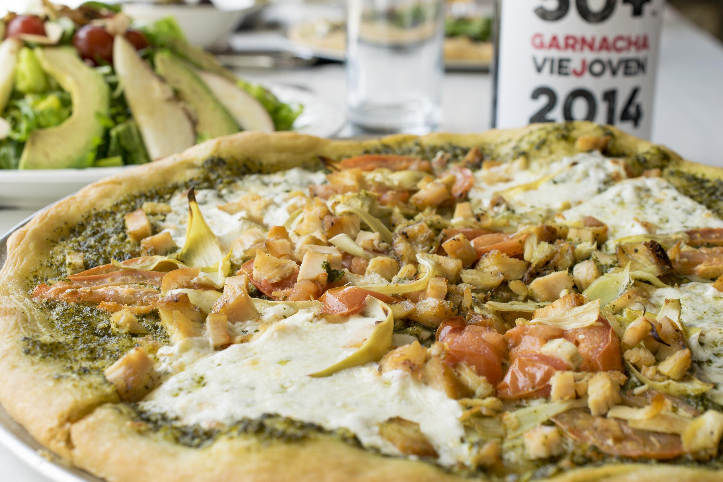 Chicken Pesto Pizza with Artichoke and Mozzarella