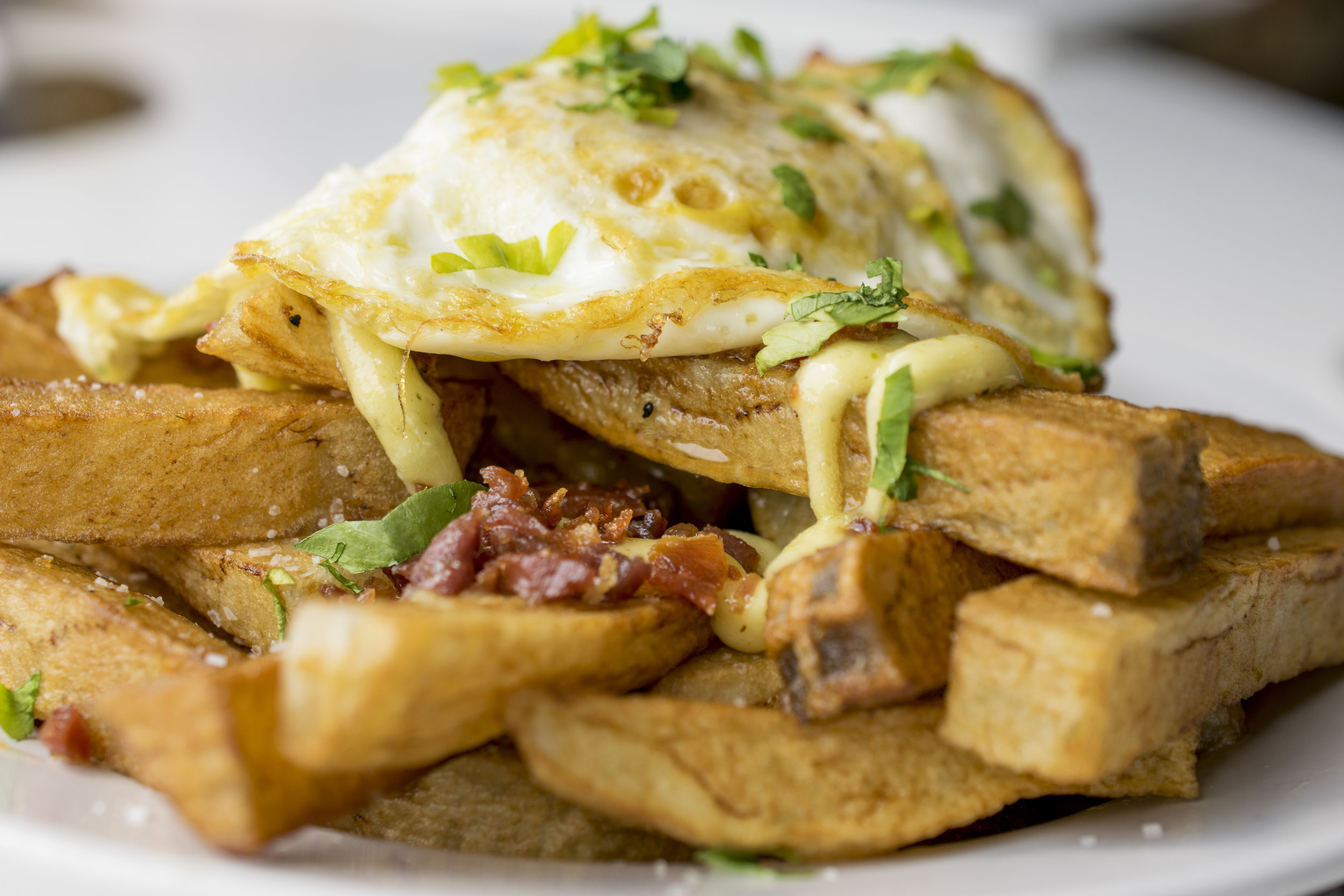 Fried Potatoes Topped with an Egg